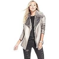 Guess Womens W73DE123004 Jezzabelle Faux Fur Jacket Jacket - Silver