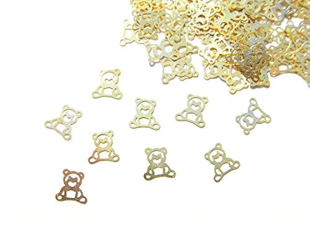選挙ほうき主婦【jewel】ug20 薄型ゴールド メタルパーツ クマ 熊10個入り ネイルアートパーツ レジンパーツ