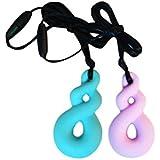 ROSENICE チュアネックレス2個Chewelryネックレス自閉症のために穏やかなADHD口頭の噛み付きの歯が必要(ライトブルー+パープル)