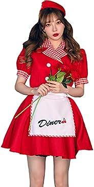 [ブライトララ] ハロウィン コスプレ ダイナー ダイナーガール カフェ店員 コスチューム 大きいサイズ
