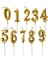 NUOBESTY 誕生日数字キャンドル、10ピース番号0-9グリッターケーキトッパー装飾用誕生日パーティーの好意