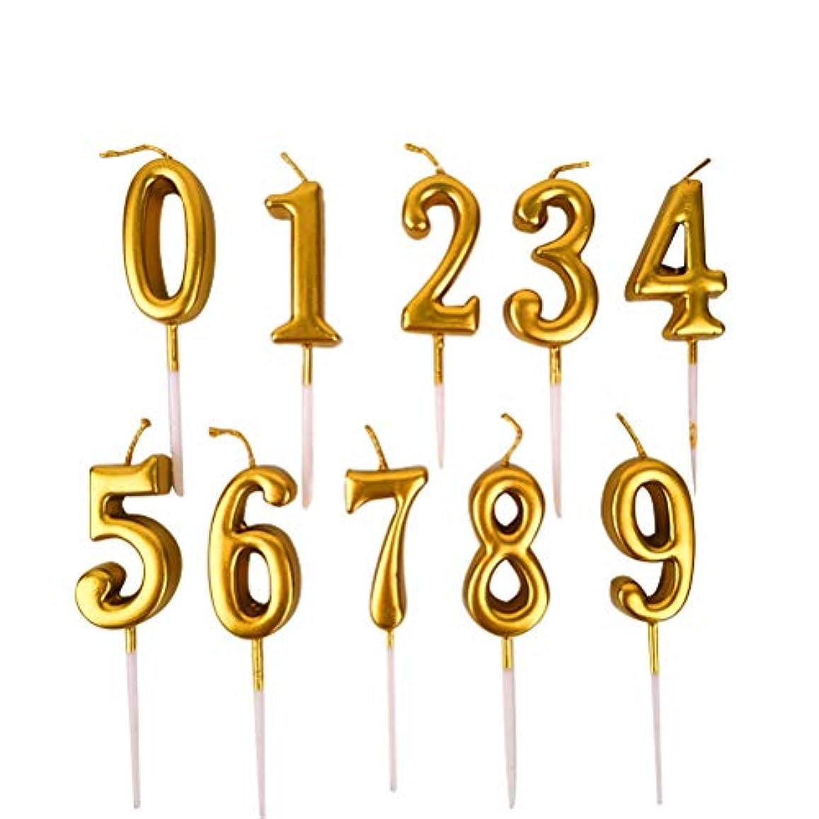 単独で一完了NUOBESTY 誕生日数字キャンドル、10ピース番号0-9グリッターケーキトッパー装飾用誕生日パーティーの好意