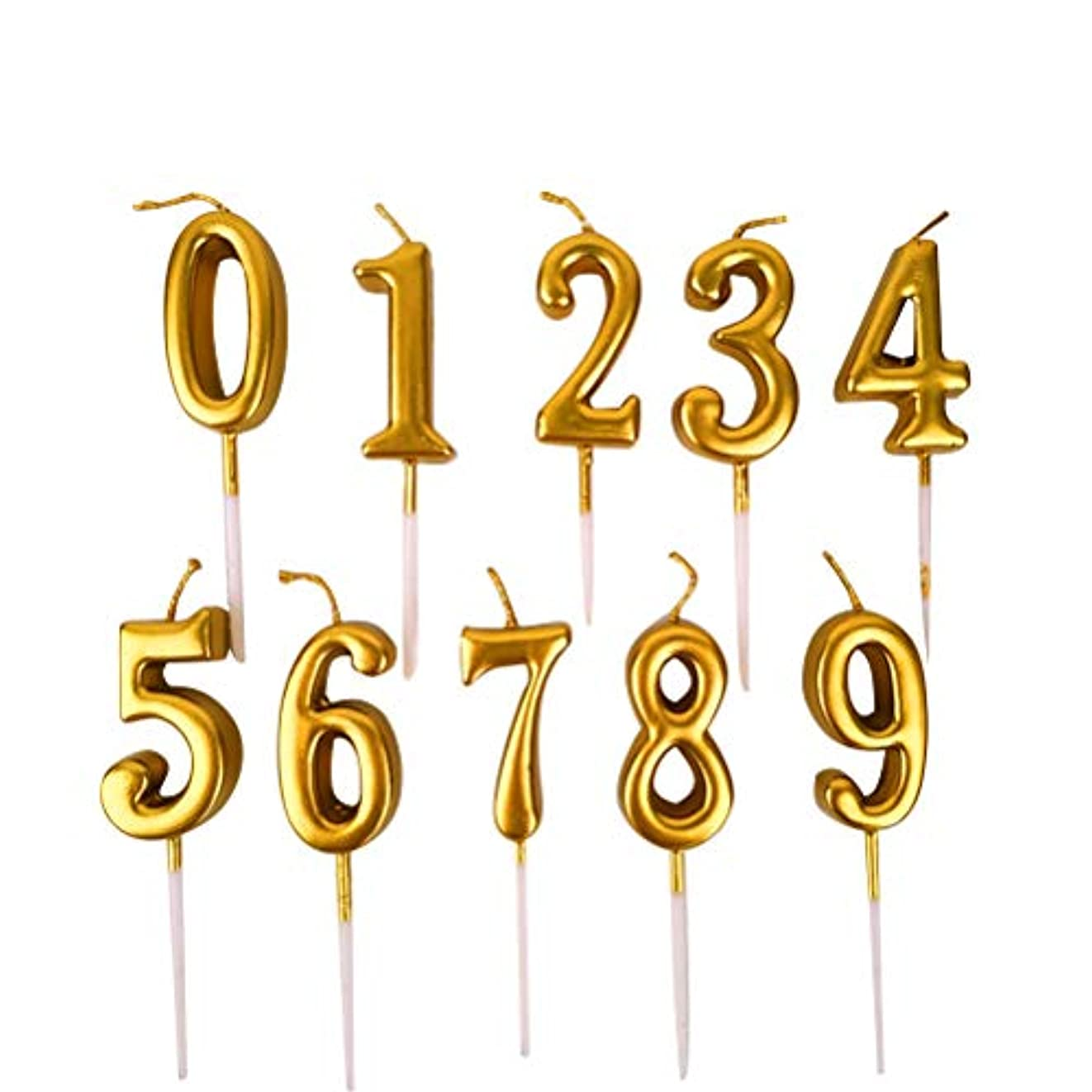 純正プール連合NUOBESTY 誕生日数字キャンドル、10ピース番号0-9グリッターケーキトッパー装飾用誕生日パーティーの好意
