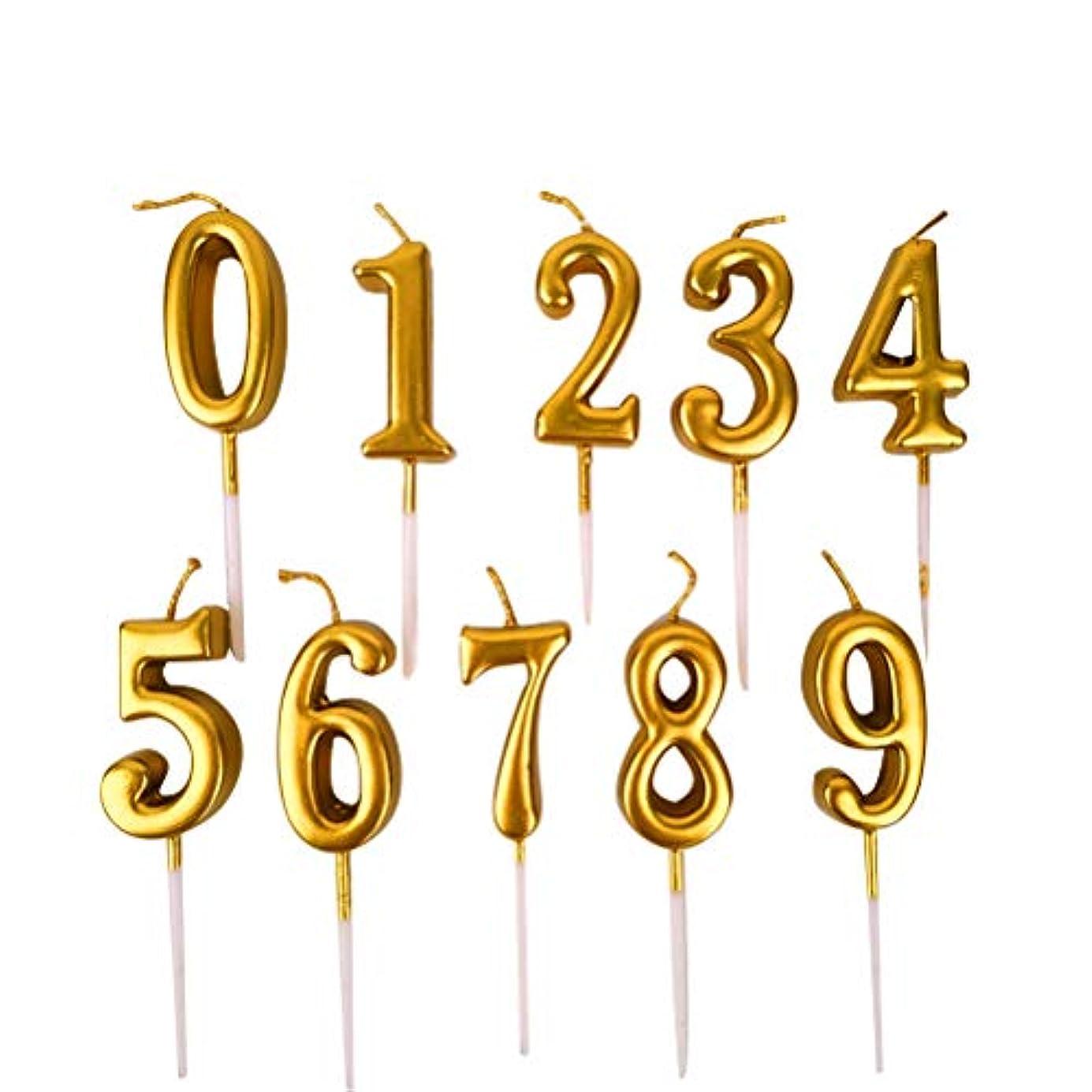 つづりご近所キャンプNUOBESTY 誕生日数字キャンドル、10ピース番号0-9グリッターケーキトッパー装飾用誕生日パーティーの好意