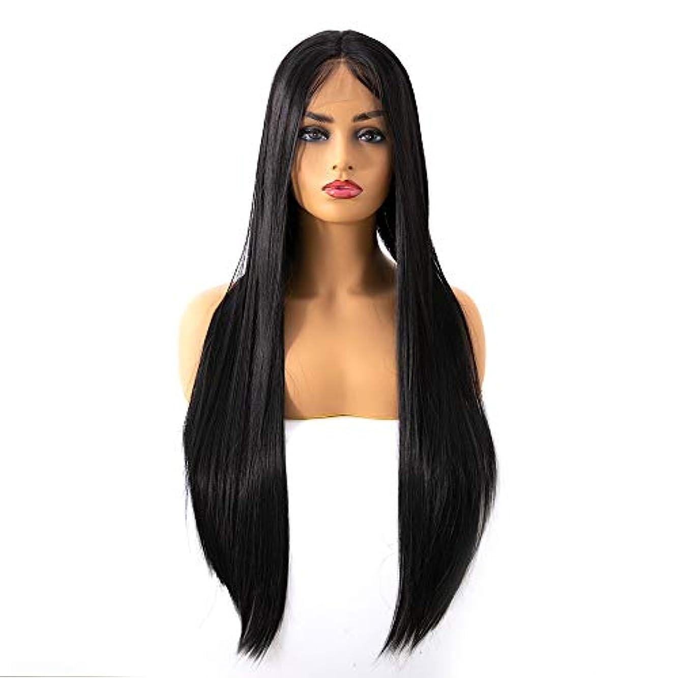 女性用ロングナチュラルストレートヘアウィッグレースフロントウィッグ人工毛置換ウィッグ中間別れハロウィンコスプレ衣装アニメパーティーウィッグ (Size : 20Inch)