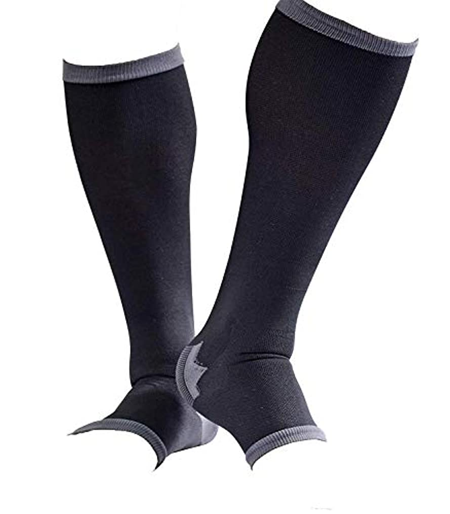 計り知れない流暢省略男性専用脚すっきり対策オープントゥ着圧ソックス 膝下 M-L 順天堂大学客員教授推奨