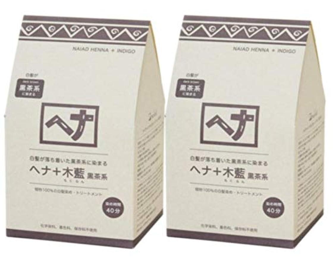 ゆるい文明化するコテージNaiad(ナイアード) ヘナ+木藍 黒茶系 400g 2個セット