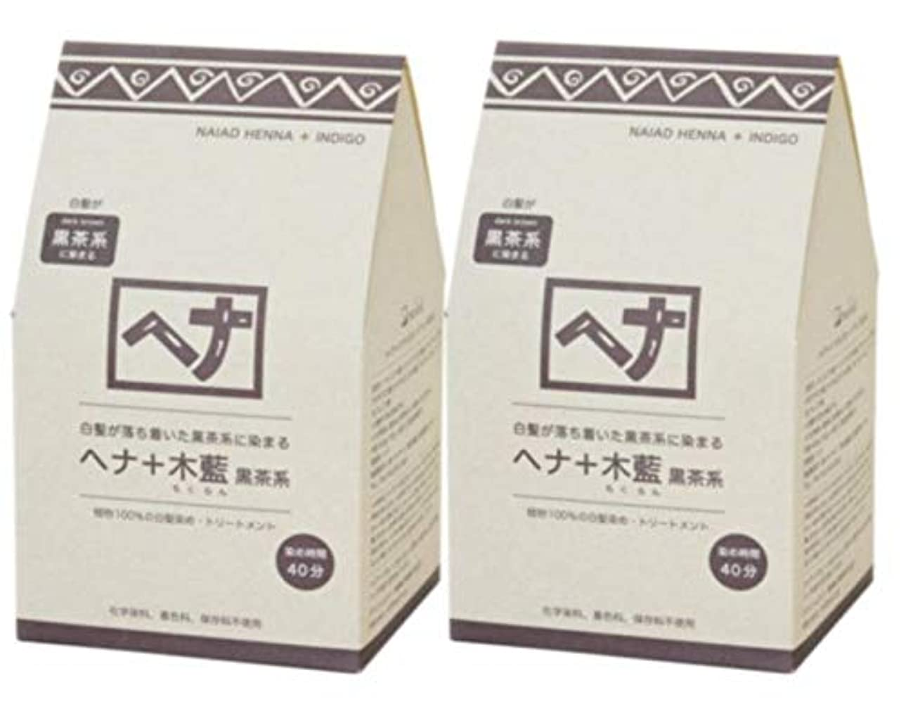 ロッカー敬意を表するしょっぱいNaiad(ナイアード) ヘナ+木藍 黒茶系 400g 2個セット