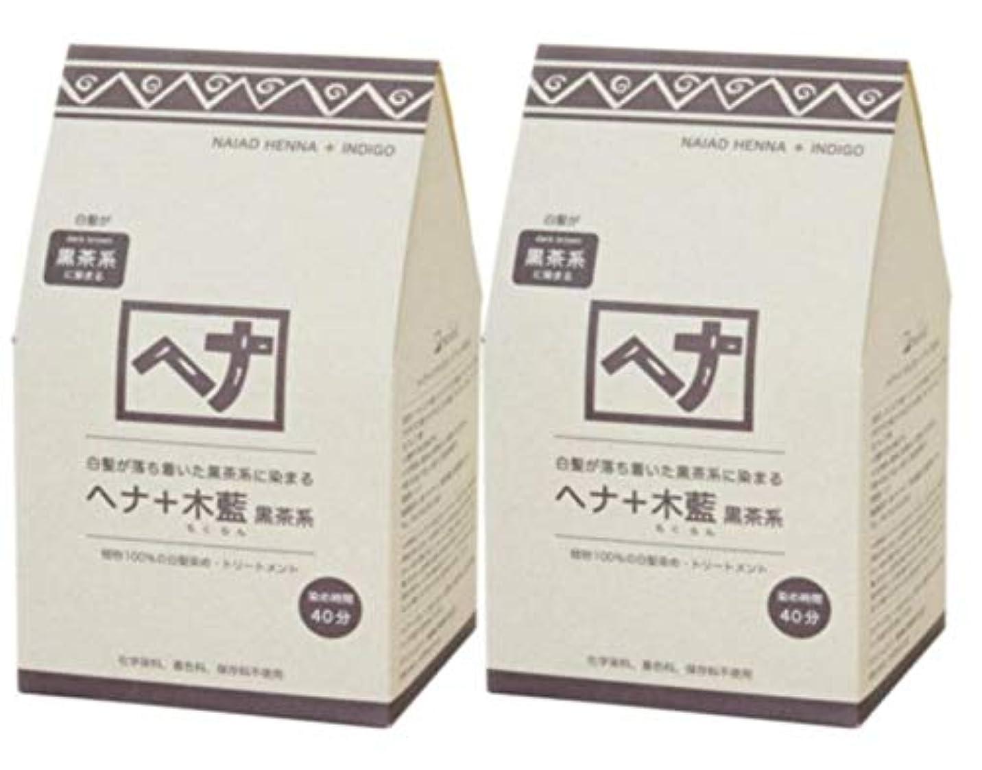 生産性逆さまに最少Naiad(ナイアード) ヘナ+木藍 黒茶系 400g 2個セット