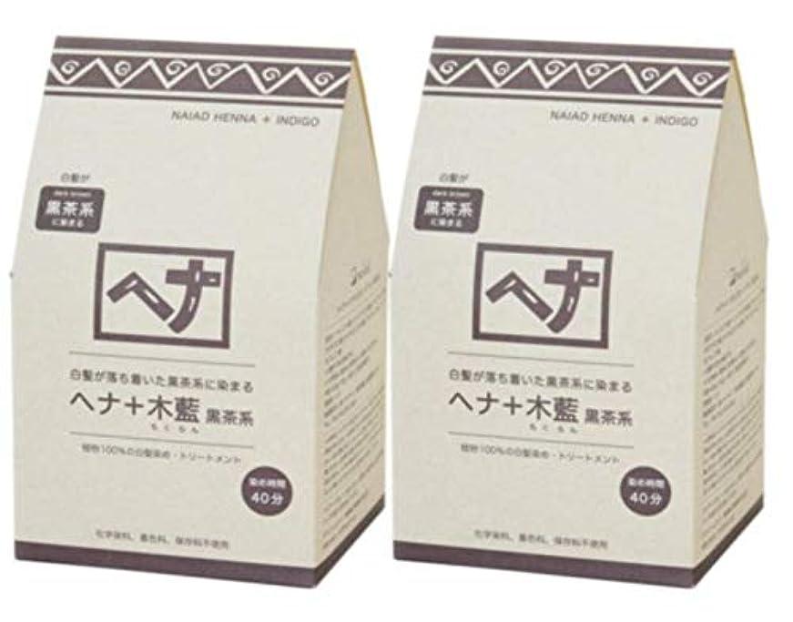 押すストレンジャー効果的Naiad(ナイアード) ヘナ+木藍 黒茶系 400g 2個セット