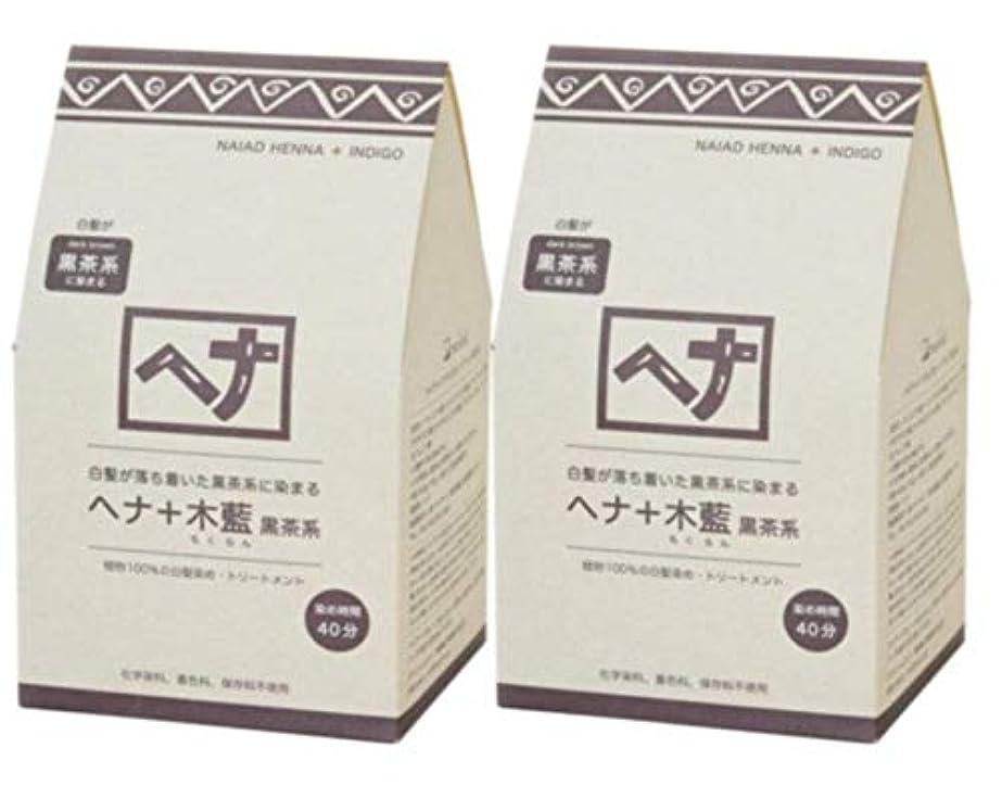 アフリカ人背骨牛Naiad(ナイアード) ヘナ+木藍 黒茶系 400g 2個セット