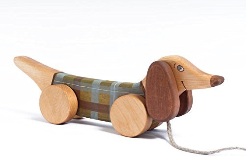 pull-along手作りバーチ木製非毒性Weiner犬おもちゃ、レッド