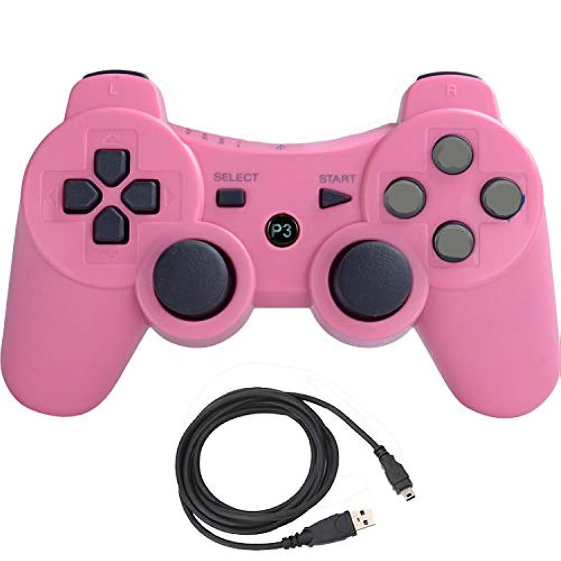 ばかげているジャーナル選挙Pueleo PS3用 ワイヤレス デュアルショック3 ワイヤレスコントローラー互換 日本語説明書 USB ケーブル付属(ピンク)
