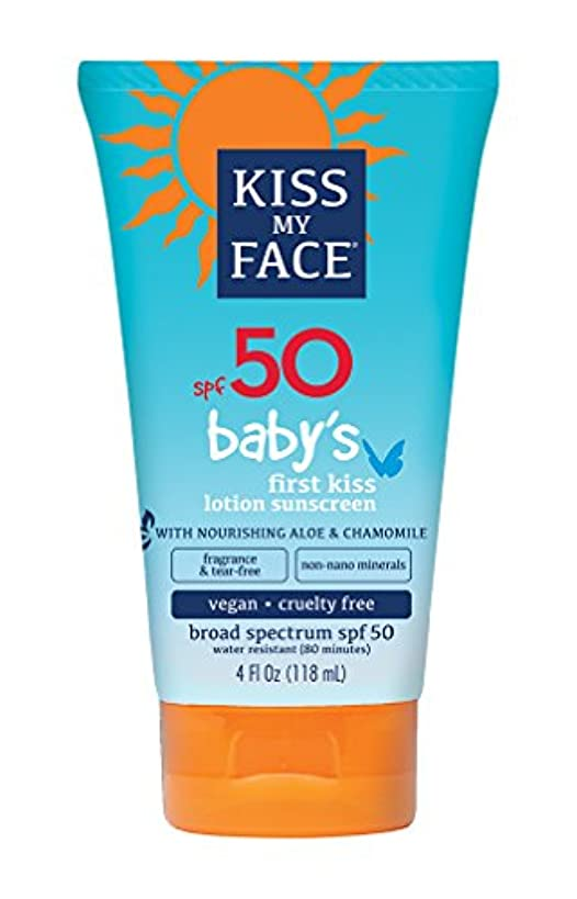 速度ダム底Kiss My Face Sunscreen - Mineral - Lotion - Babys First Kiss - SPF 50 - 4 oz