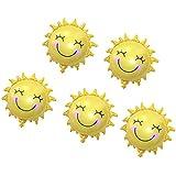 Sharplace 5個入り 笑顔 日差し 太陽 アルミ箔製 風船 結婚式パーティー 誕生日パーティー 装飾 ゴールド