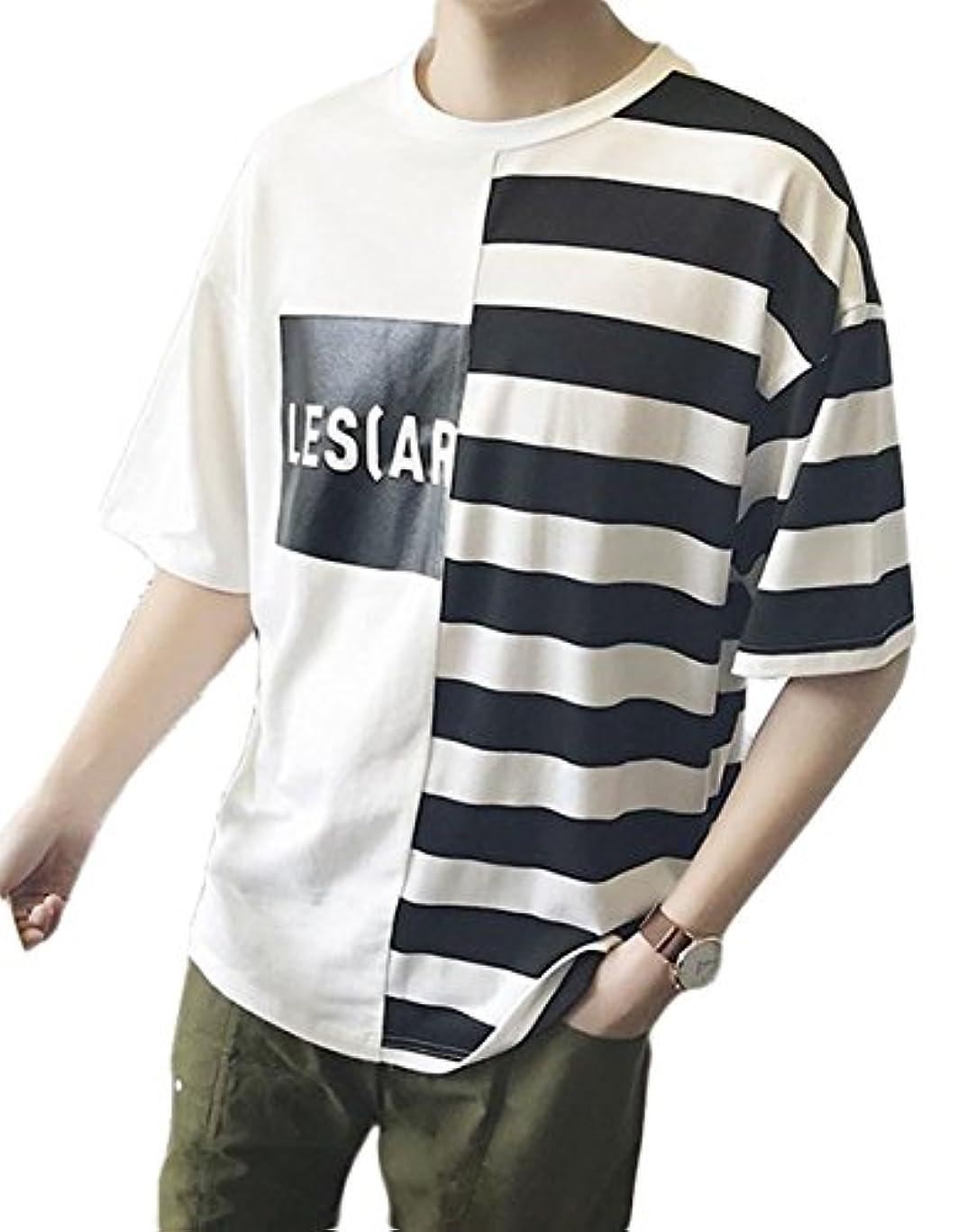 変成器遠洋の常習的ZhongJue(ジュージェン)メンズ Tシャツ 半袖 ゆったり ボーダー柄 ファッション カットソー ゆったり 韓国風 トップス