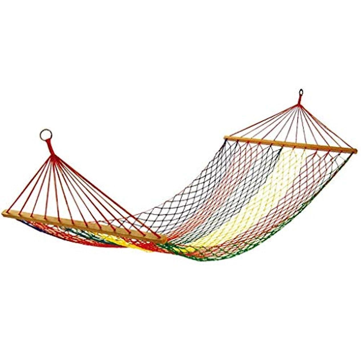 疎外評決素敵なRUIMA 最高の選択の製品編まれた綿ロープダブルハンモックw/ウッドスプレッダーとキャリングケース