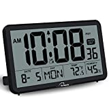 WallarGe Digital Wall Clock, Autoset Desk Clocks with Temperature, Humidity and Date, Battery Operated Digital Wall Clock Large Display, 8 Time Zone, Auto DST. (Black)