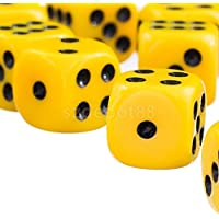 NEW 50pcs/Set TRPG Games Dungeons & Dragons D6 SixSides SpotDice Yellow 12mm