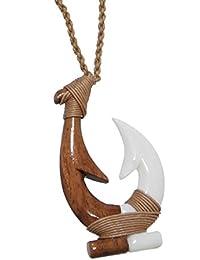 ハワイアンフックボーン半分半分Koa Woodロープネックレス