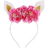 Domybest ベビーヘアバンド 子供ヘアアクセサリ 髪飾り 女の子 可愛い 猫の耳 髪のフープ きれい花 パーティー 記念撮影 出産祝い 旅行