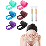 Spa Headband Hair Wrap EURICA Sweat Headband Head Wrap Hair Towel Non-slip Stretchable Washable Makeup Headband for Face Wash Facial Treatment SportBright Colors Pack of 6with 2 Facial Mask Brushes