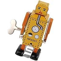 【ノーブランド品】ブリキ おもちゃ リリパット ロボット ネジ巻き式 玩具 コレクション 飾り 装飾 機械式 贈り物(イエロー)