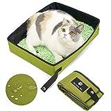 YUMOA 猫 携帯トイレ 長さ45 幅35 高さ12.5cm 折りたたみ式 簡易トイレ 大型 ポータブル トイレ ペット 車 災害 携帯 お出かけ 用 トイレ 旅行用品 重さ 0.57kg (Green(L))