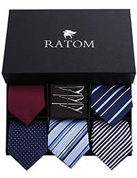[RATOM] ネクタイピン ネクタイ セット【ネクタイ5本+ピン3本+ギフトボックス、洗濯OK】 (アソート系)