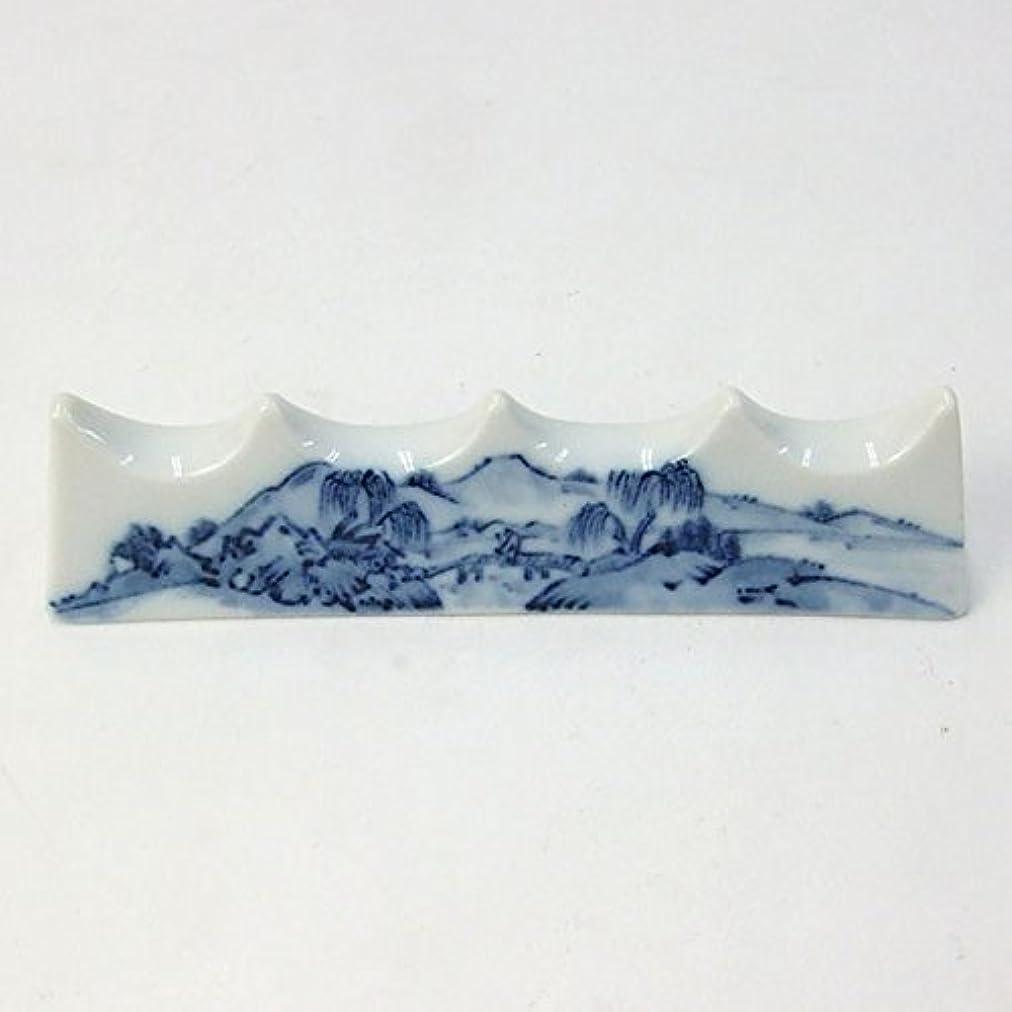 金曜日入札中性陶器の筆置き 山水 4筆用 『筆架 書道用品』