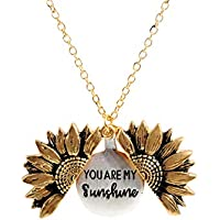 Sloong You Are My Sunshine Engraved Necklace Sunflower Locket Necklace