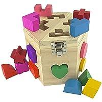 Shape Sorter、木製おもちゃカラフル幾何学ブロック15穴並べ替えキューブボックスの色認識のスタックカラーマッチング学習と教育パズルおもちゃ幼児Preschool認識