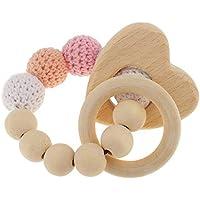 Toogoo 1ピース パール ティーシングリング 木製 乳児 ガラガラ おもちゃ 赤ちゃん用 歯磨きアクセサリー - マルチカラー - ハート