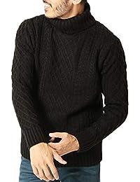 JIGGYS SHOP (ジギーズショップ) ニット セーター メンズ タートルネック ケーブル編み 厚手 長袖 防寒 ボーダー