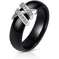 Ranipobo Creative Ceramic Ring Black and White Double X Diamond Ring