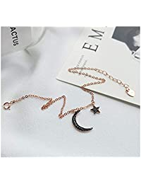 Daesar Anklet for Women Sterling Silver Anklet Women Anklet Moon And Star Anklet White Gold/Rose Gold