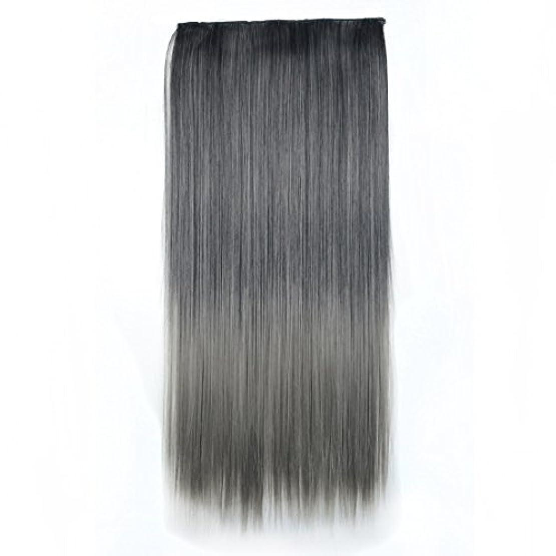 王子コンチネンタルお手入れJIANFU 合成ヘアエクステンションヘアカラーグラデーションウィッグピースで5クリップロングストレートヘアピース60cm (Color : Black gradient light granny ash)