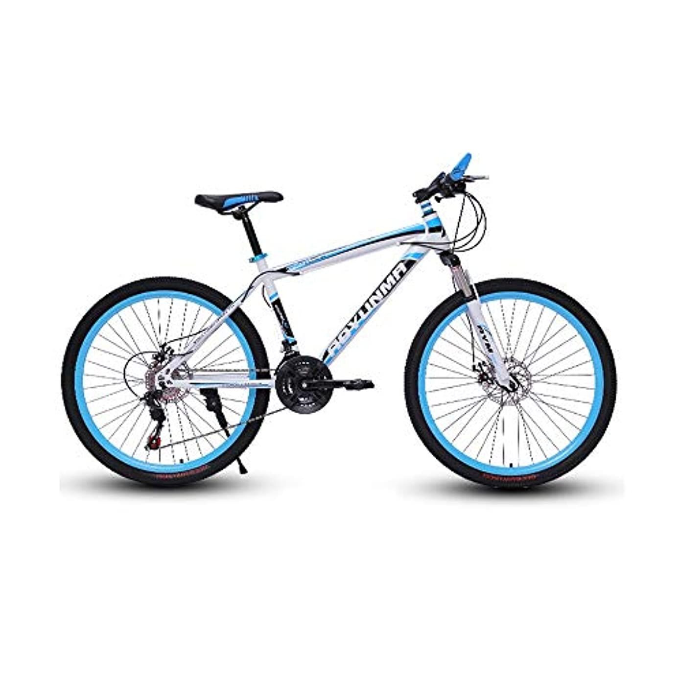 試してみる海里分布LRHD マウンテンバイク24/26インチ21スピード3スポーク高炭素鋼フレーム自転車フォークサスペンション伝送ダンピングアーバントラックバイクオフロードレーシングMTB自転車屋外サイクリング(ブラック、ブルー)