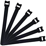 U-horizon 50 pcs Cable Ties Hook and Loop Cord Ties Quickly-Fastening Wire Organizer Durable Cable Straps, 20cmx12mm, Black