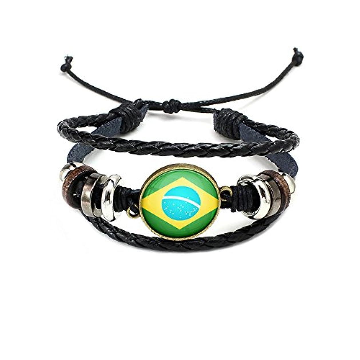 場合部分的時刻表ワールドカップ応援用グッズ ナショナルフラッグパンクレザーブレスレット 編組ロープバングル ブラジル