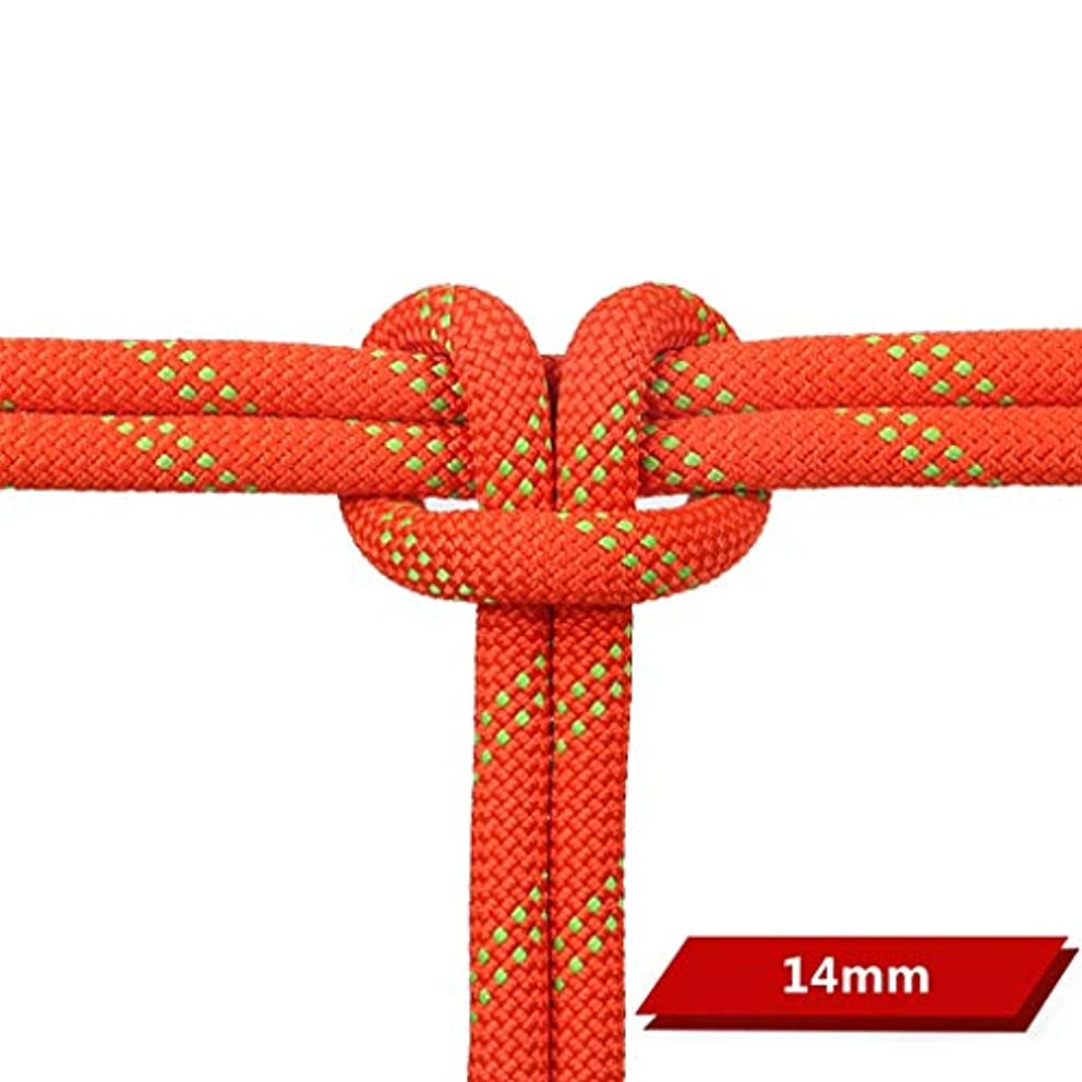 皮肉音楽を聴く突然のクライミングハーネス 直径14 mmスタティックロープ、DuPontシルクセーフティロープ、マルチカラーオプションのクライミングロープ (色 : オレンジ, サイズ さいず : 14mm-140m)