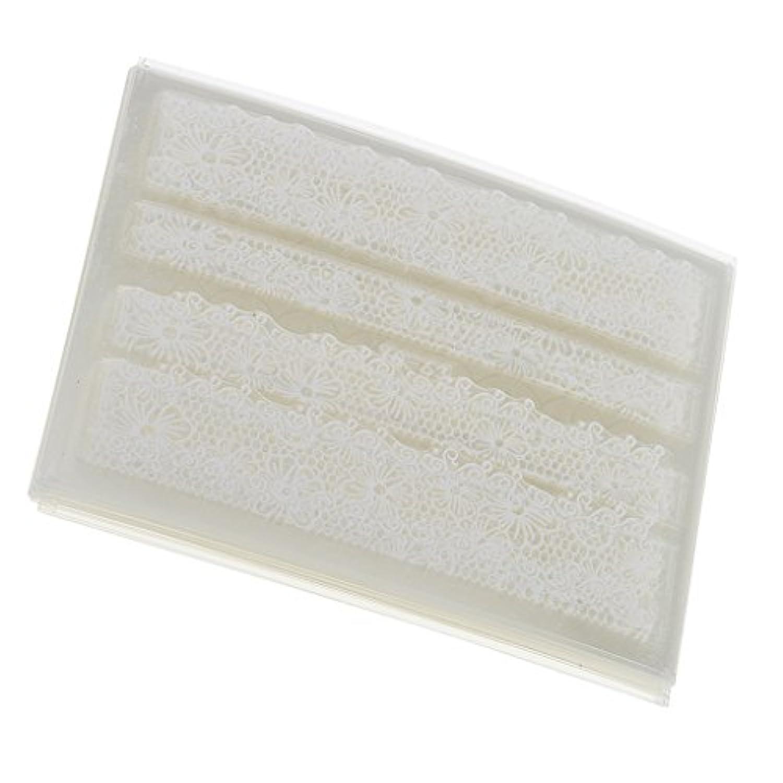 SONONIA 30シート レース ステッカー DIY 爪装飾 レースフラワー ネイルアート ツール 白 30枚入り