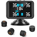 Tymate TPMS Wireless Monitoring System, 3.7inch LCD Screen Displays 4 Tires' Pressure and Temperature, 4pcs External Sensors (0-8.0 BAR/0-116 PSI), Real-time Alarm Function