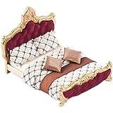 Goolsky 家具モデル ベッド キルト 枕 モデル セット 1:25ドールハウス リビングルーム ミニチュア 家具 アクセサリー 絶妙な家の装飾