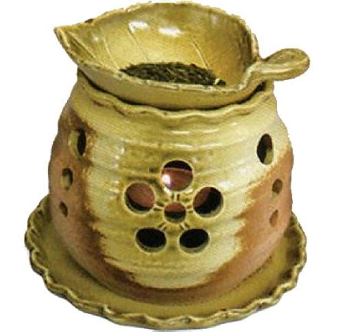 増強除去服を片付ける常滑焼 創器 ゆとり 茶香炉 径:13.2cm 高さ:11.5cm 木の葉の皿付 サ39-09