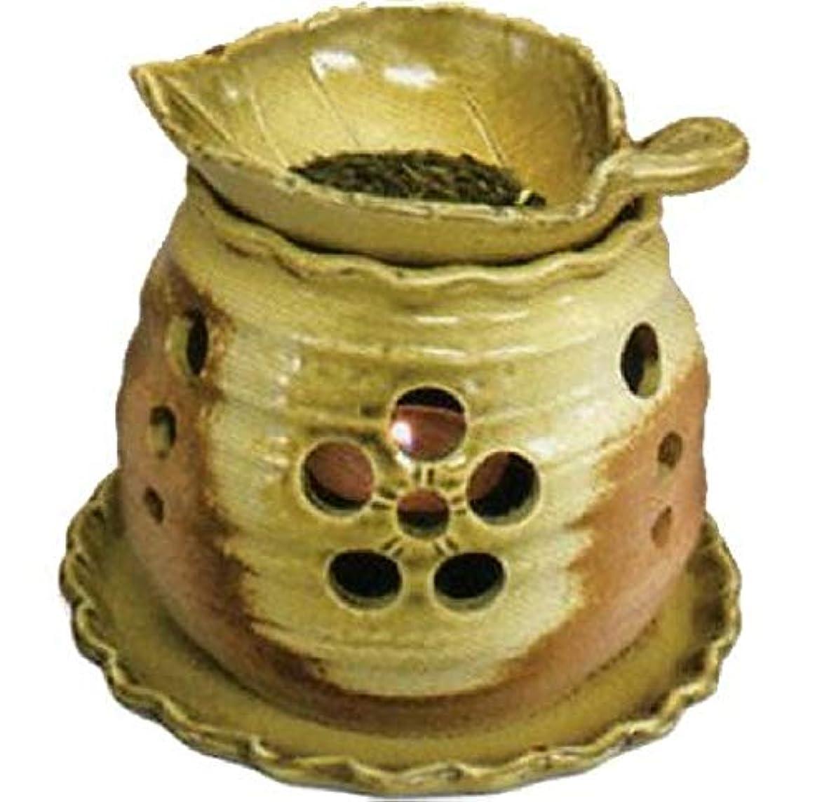 ネックレスラフト奴隷常滑焼 創器 ゆとり 茶香炉 径:13.2cm 高さ:11.5cm 木の葉の皿付 サ39-09