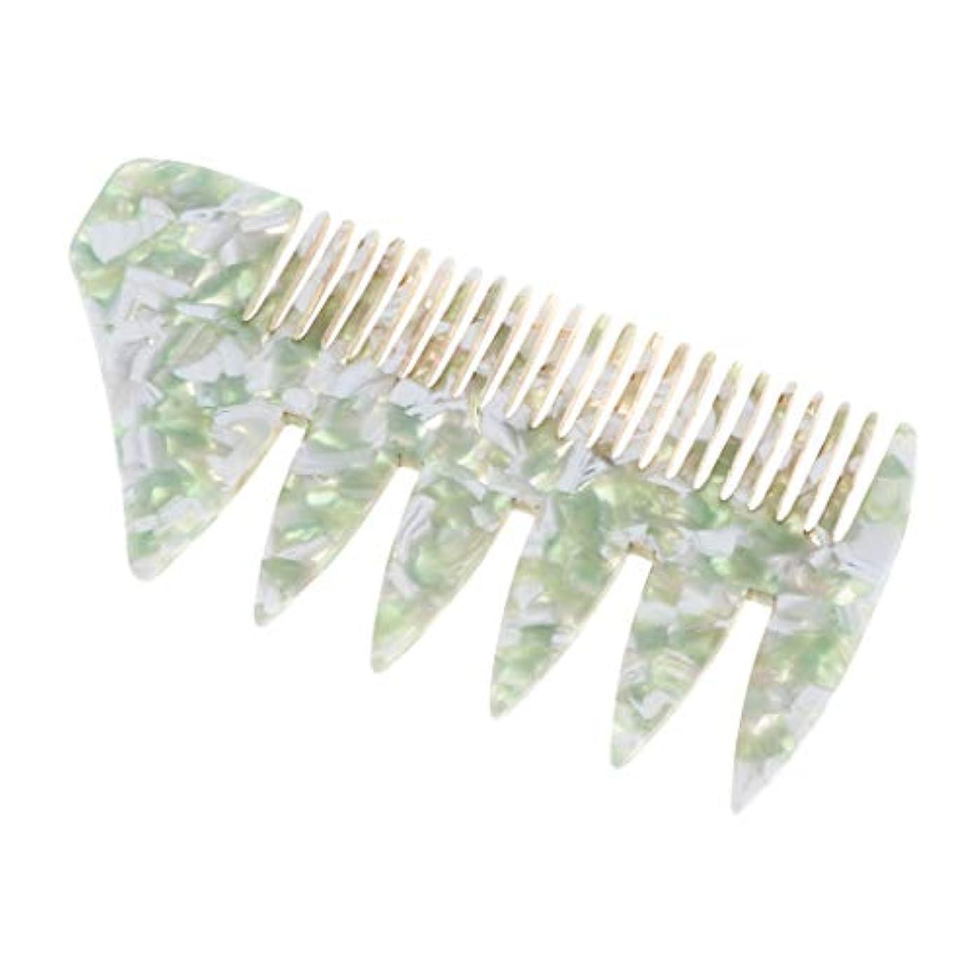 外交官批判アルファベットプラスチック 広い歯 ヘアスタイリング櫛 くし 全4色 - 緑