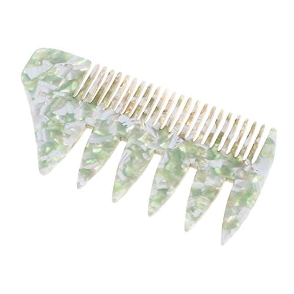 安全でないワードローブ市民プラスチック 広い歯 ヘアスタイリング櫛 くし 全4色 - 緑