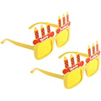 BESTOYARD メガネ 眼鏡 サングラス ハッピーバースデー キャンドル 子供 幼児 誕生日 おめでとう ギフト 2ピース(黄色)