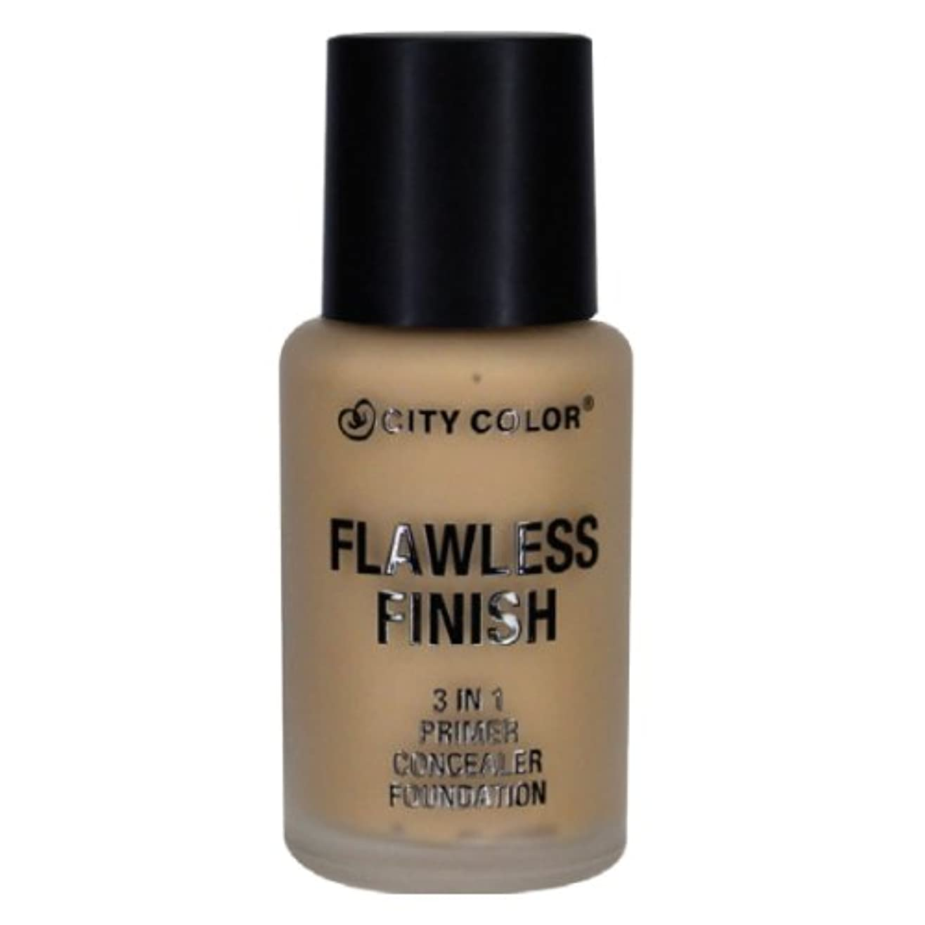 刈るミントスナップCITY COLOR Flawless Finish 3 In 1 Primer, Concealer Foundation - Medium (並行輸入品)